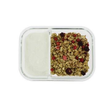 Frischhaltedose mit 3 Fächern1040 ml mit Deckel Lunchbox Gefrier-//Ofenform Glas