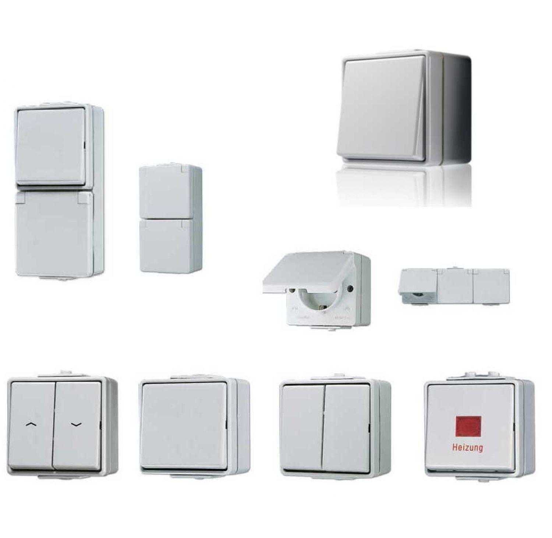 jung feuchtraum schalterprogramm wg 600 ip44 aufputz grau ebay. Black Bedroom Furniture Sets. Home Design Ideas