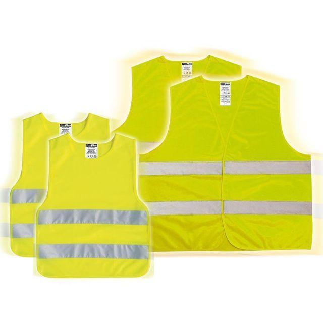 Warnwesten-Set Kinder und Erwachsene 2 x Leina-Werke Pannen-Warnweste Orange nach DIN EN ISO 20471 3 x Leina-Werke Kinder-Warnweste Gelb nach DIN EN 1150