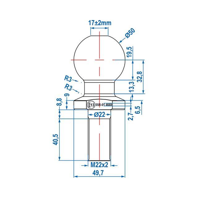 50 mm Sfera di frizione M22 per rimorchio testa a sfera trattore Quad