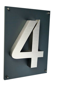 Hausnummer 6 Edelstahl New Design 2D Hausschild anthrazit 29x21cm 0-9 erhältlich