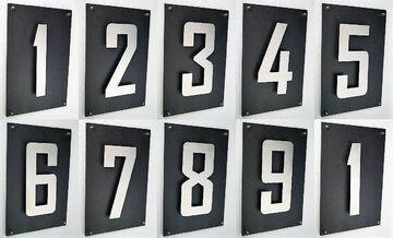 Hausnummer 1 Edelstahl V2A Arial 2D Schieferplatte 30x20cm einstellig Hausschild