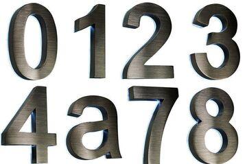 3D-Hausnummer Hausschild Edelstahl V2A Nr.2  anthrazit  Arial  29cm x 21cm