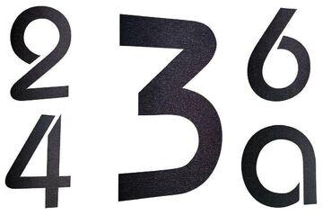 viele Farben Hausnummer Edelstahl  H20cm alle Zahlen !! ITC-Bauhaus in 2D