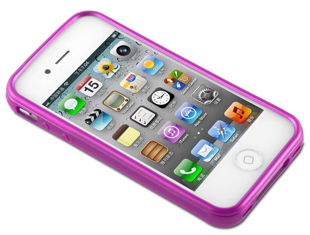Custodia-Cover-Silicone-per-Apple-iPhone-4-4S-TPU-Case-Effetto-Acciaio miniatura 18