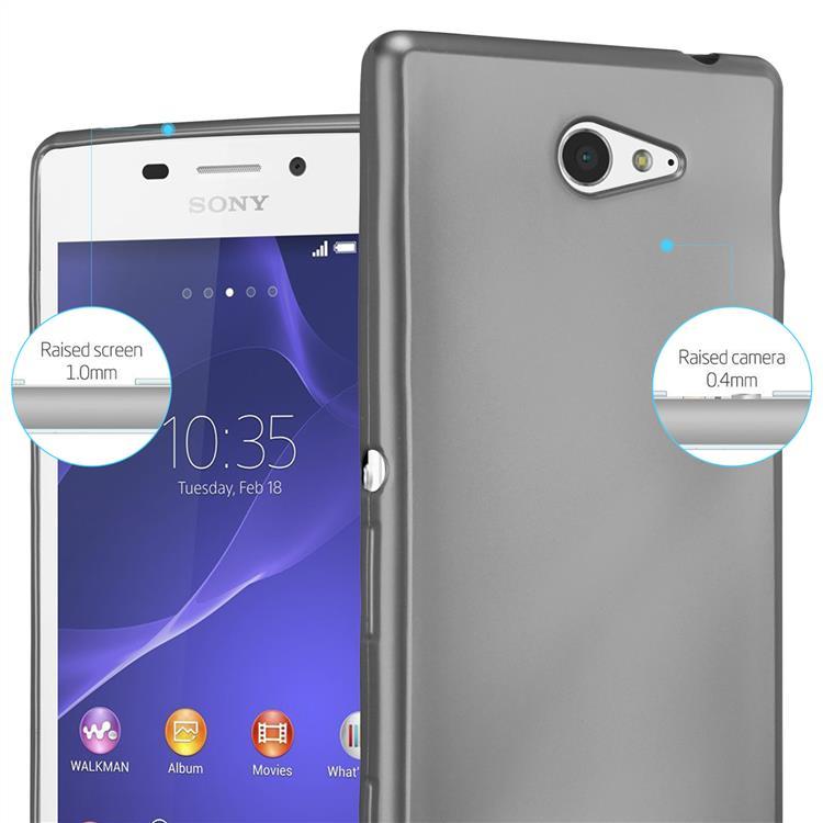 Custodia-Cover-Silicone-per-Sony-Xperia-M2-M2-Aqua-TPU-Case-Metallico-Opaco miniatura 18