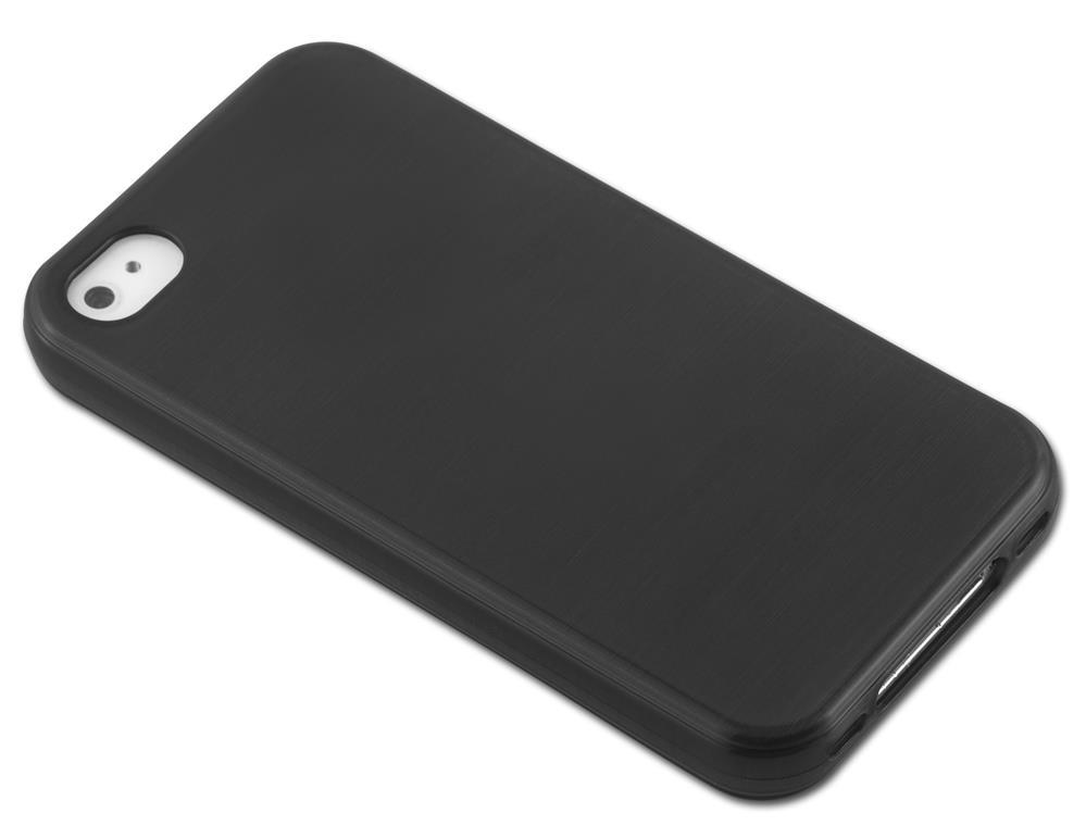 Custodia-Cover-Silicone-per-Apple-iPhone-4-4S-TPU-Case-Effetto-Acciaio miniatura 7