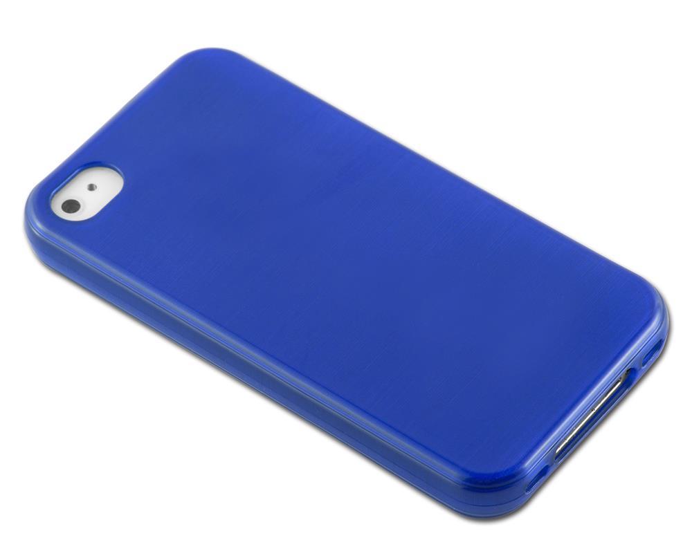 Custodia-Cover-Silicone-per-Apple-iPhone-4-4S-TPU-Case-Effetto-Acciaio miniatura 27
