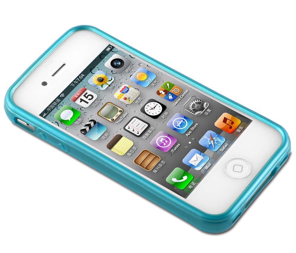 Custodia-Cover-Silicone-per-Apple-iPhone-4-4S-TPU-Case-Effetto-Acciaio miniatura 14