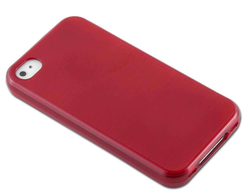 Custodia-Cover-Silicone-per-Apple-iPhone-4-4S-TPU-Case-Effetto-Acciaio miniatura 23