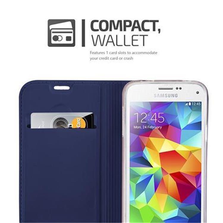 Custodia-Cover-per-Samsung-Galaxy-S5-MINI-DUOS-Metallico-Case-Libro-Portafoglio miniatura 13