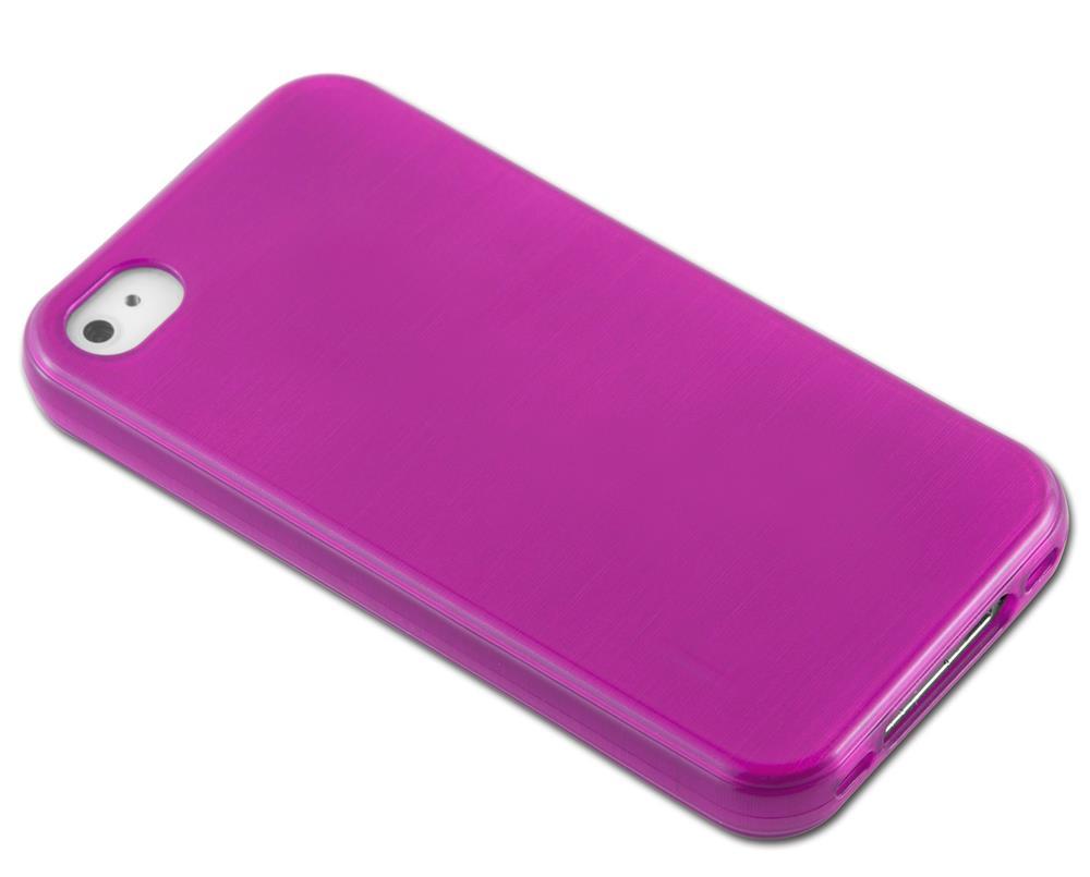 Custodia-Cover-Silicone-per-Apple-iPhone-4-4S-TPU-Case-Effetto-Acciaio miniatura 19