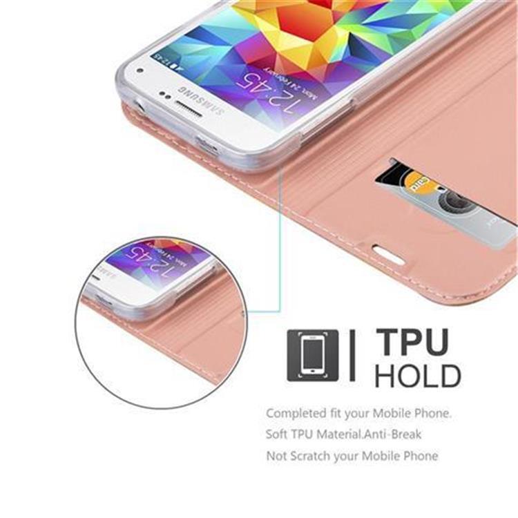 Custodia-Cover-per-Samsung-Galaxy-S5-MINI-DUOS-Metallico-Case-Libro-Portafoglio miniatura 17
