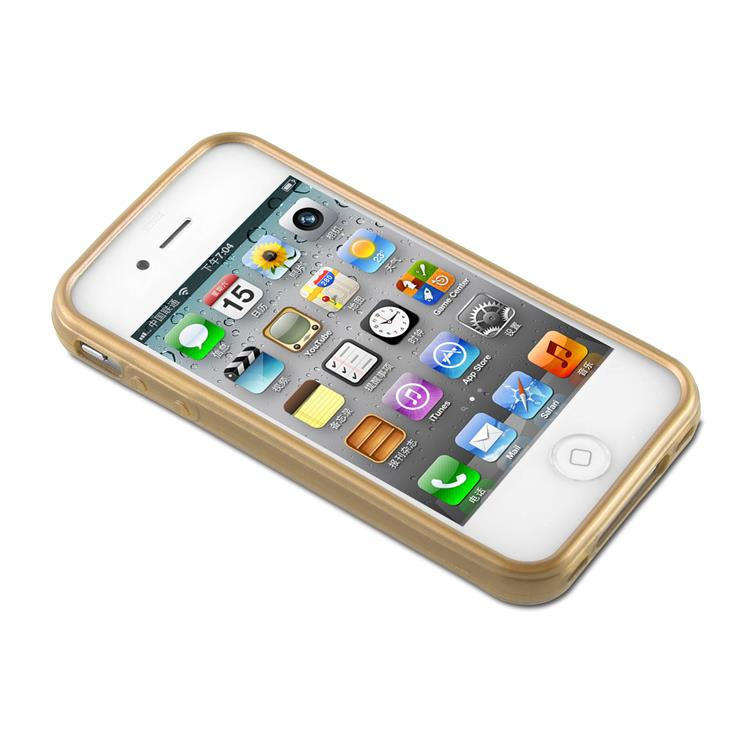Custodia-Cover-Silicone-per-Apple-iPhone-4-4S-TPU-Case-Effetto-Acciaio miniatura 30