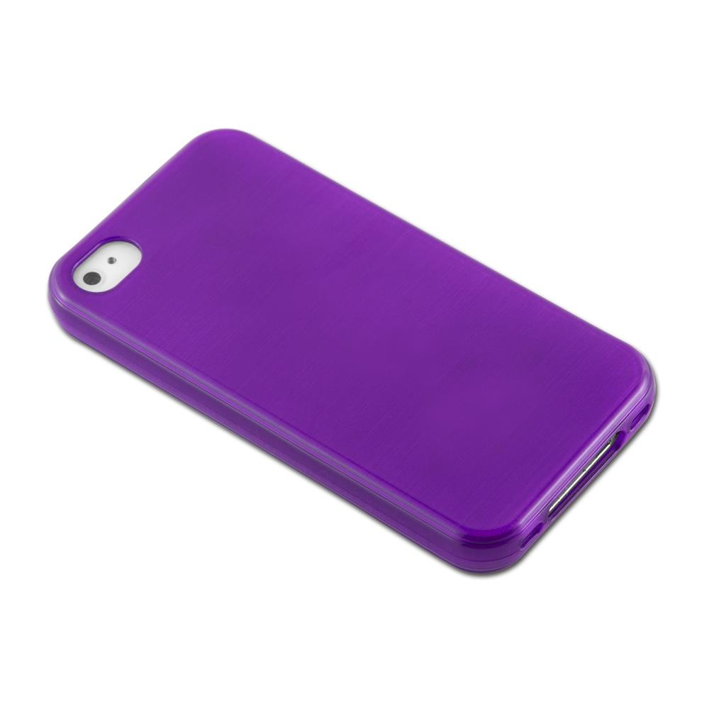 Custodia-Cover-Silicone-per-Apple-iPhone-4-4S-TPU-Case-Effetto-Acciaio miniatura 35