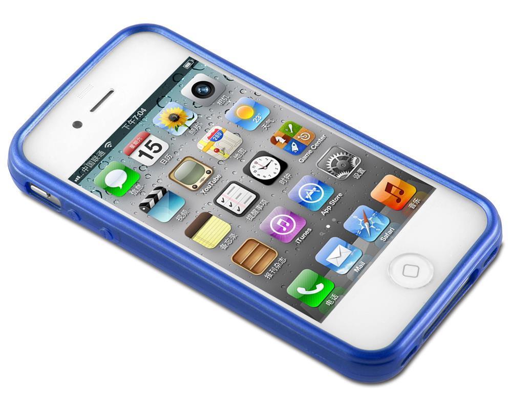 Custodia-Cover-Silicone-per-Apple-iPhone-4-4S-TPU-Case-Effetto-Acciaio miniatura 26