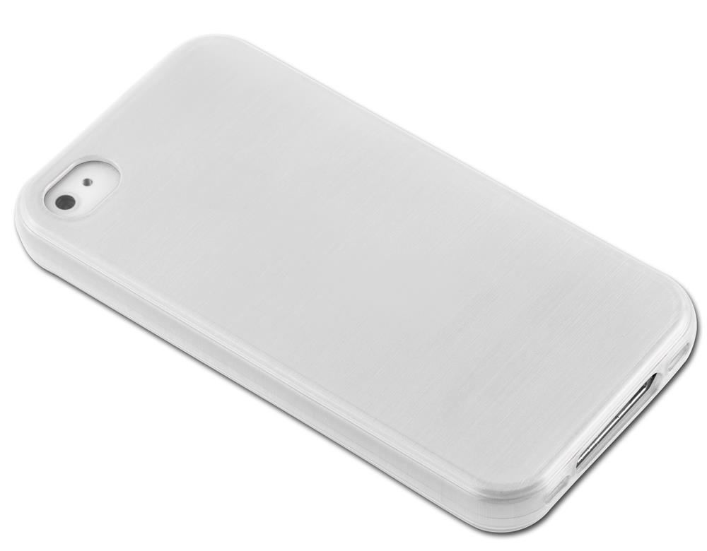 Custodia-Cover-Silicone-per-Apple-iPhone-4-4S-TPU-Case-Effetto-Acciaio miniatura 11