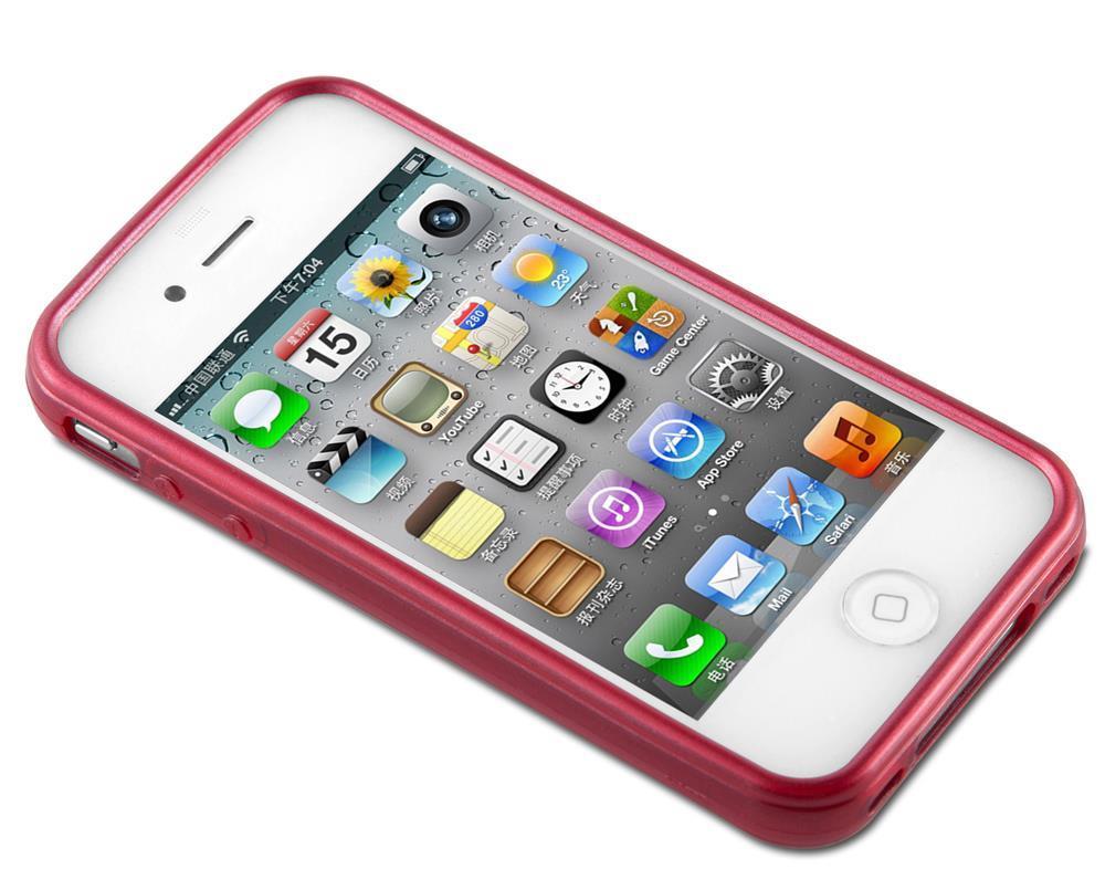 Custodia-Cover-Silicone-per-Apple-iPhone-4-4S-TPU-Case-Effetto-Acciaio miniatura 22