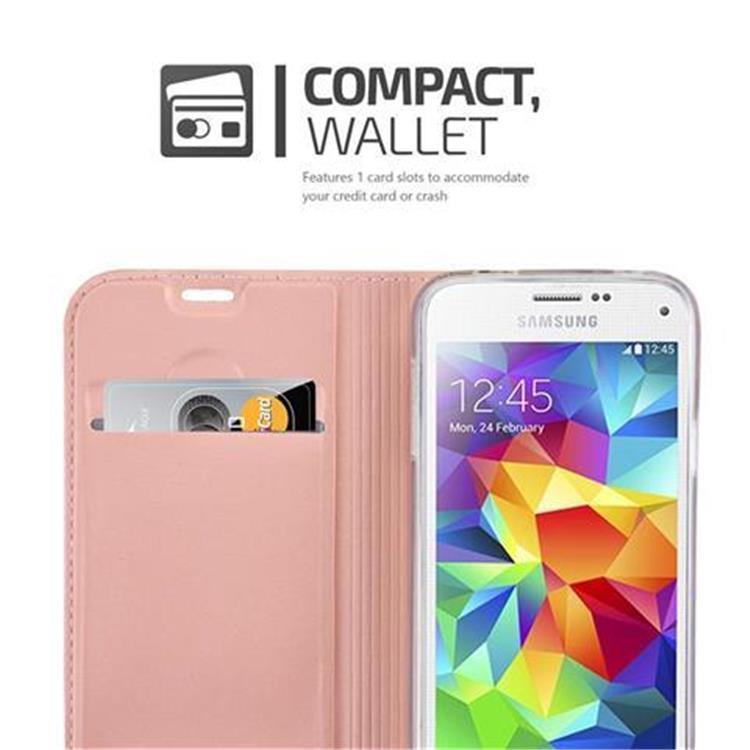 Custodia-Cover-per-Samsung-Galaxy-S5-MINI-DUOS-Metallico-Case-Libro-Portafoglio miniatura 18
