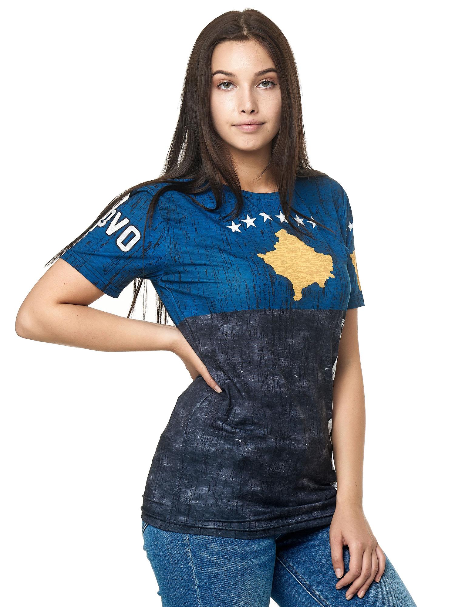 Paesi-da-Donna-T-shirt-A-Maniche-Corte-Girocollo-donne-CALCIO-Fanshirt-John-Kayna miniatura 78