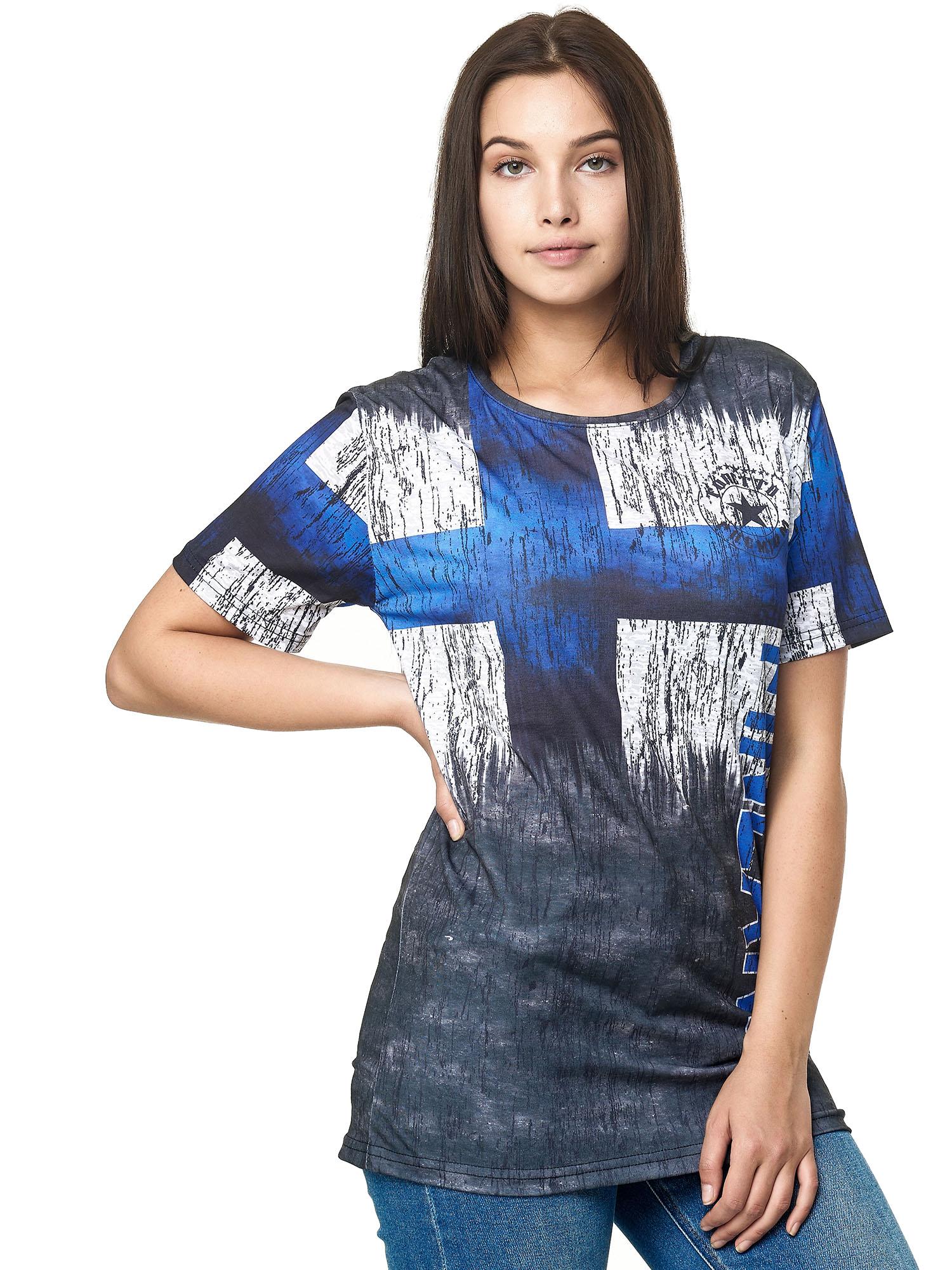 Paesi-da-Donna-T-shirt-A-Maniche-Corte-Girocollo-donne-CALCIO-Fanshirt-John-Kayna miniatura 44