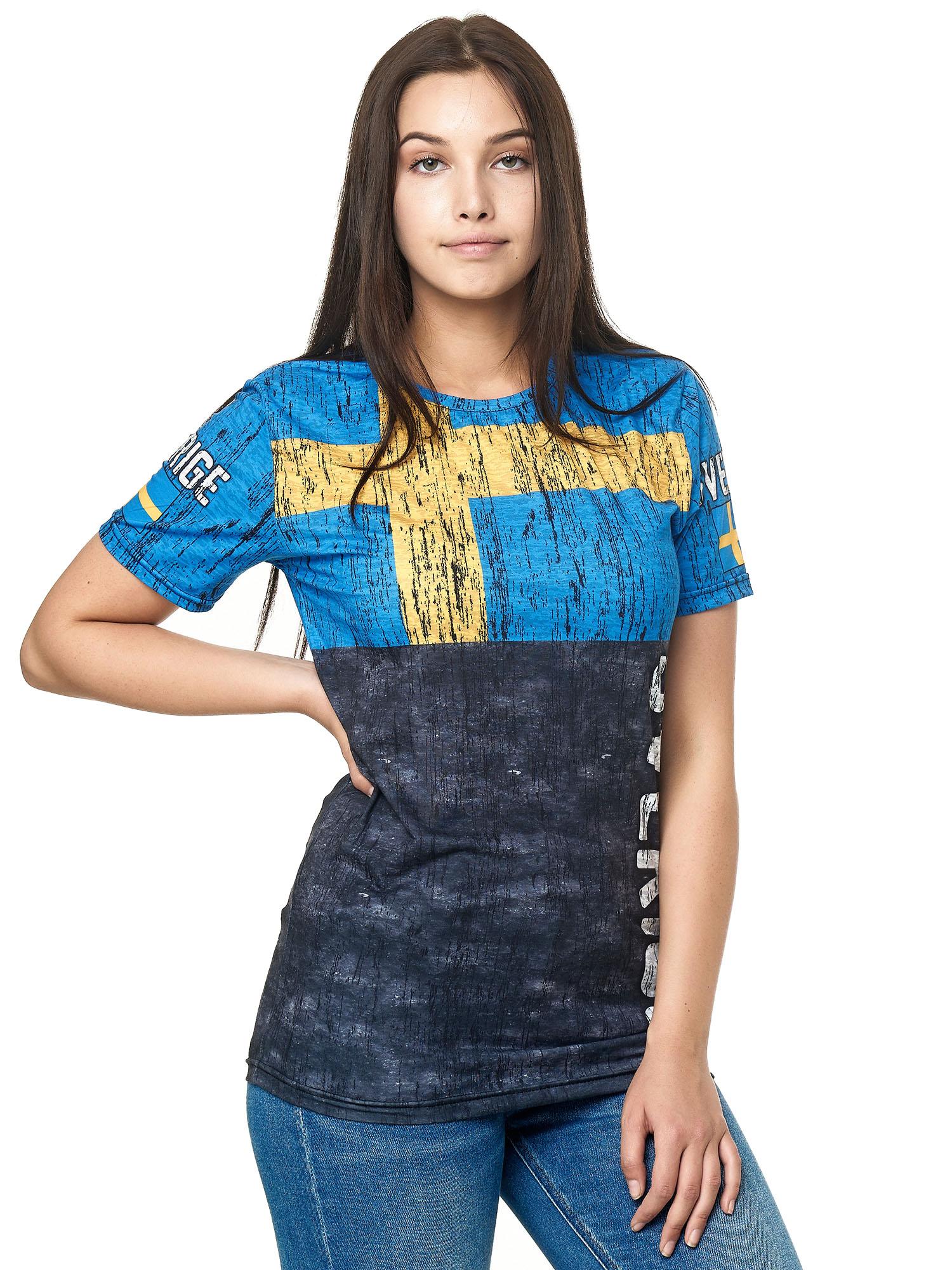 Paesi-da-Donna-T-shirt-A-Maniche-Corte-Girocollo-donne-CALCIO-Fanshirt-John-Kayna miniatura 103