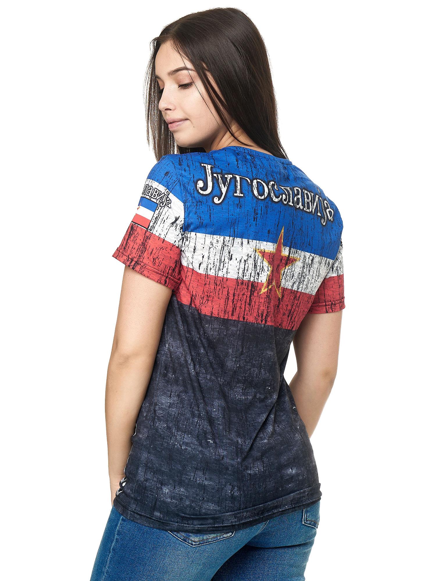Paesi-da-Donna-T-shirt-A-Maniche-Corte-Girocollo-donne-CALCIO-Fanshirt-John-Kayna miniatura 74