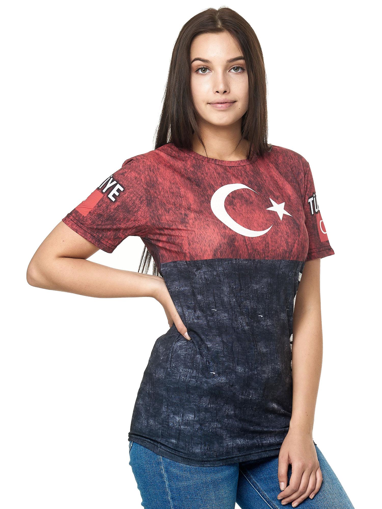 Paesi-da-Donna-T-shirt-A-Maniche-Corte-Girocollo-donne-CALCIO-Fanshirt-John-Kayna miniatura 113