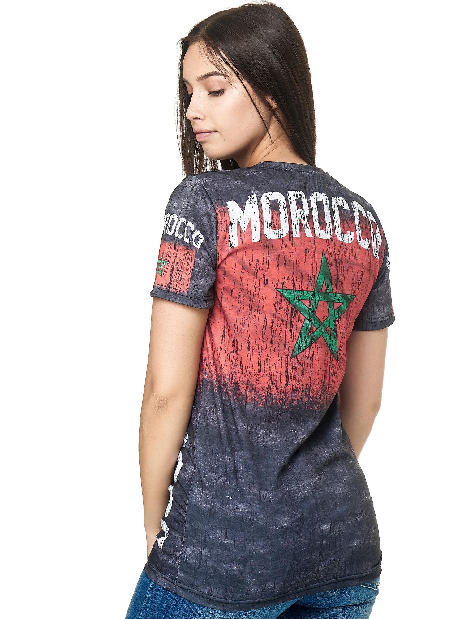 Paesi-da-Donna-T-shirt-A-Maniche-Corte-Girocollo-donne-CALCIO-Fanshirt-John-Kayna miniatura 25