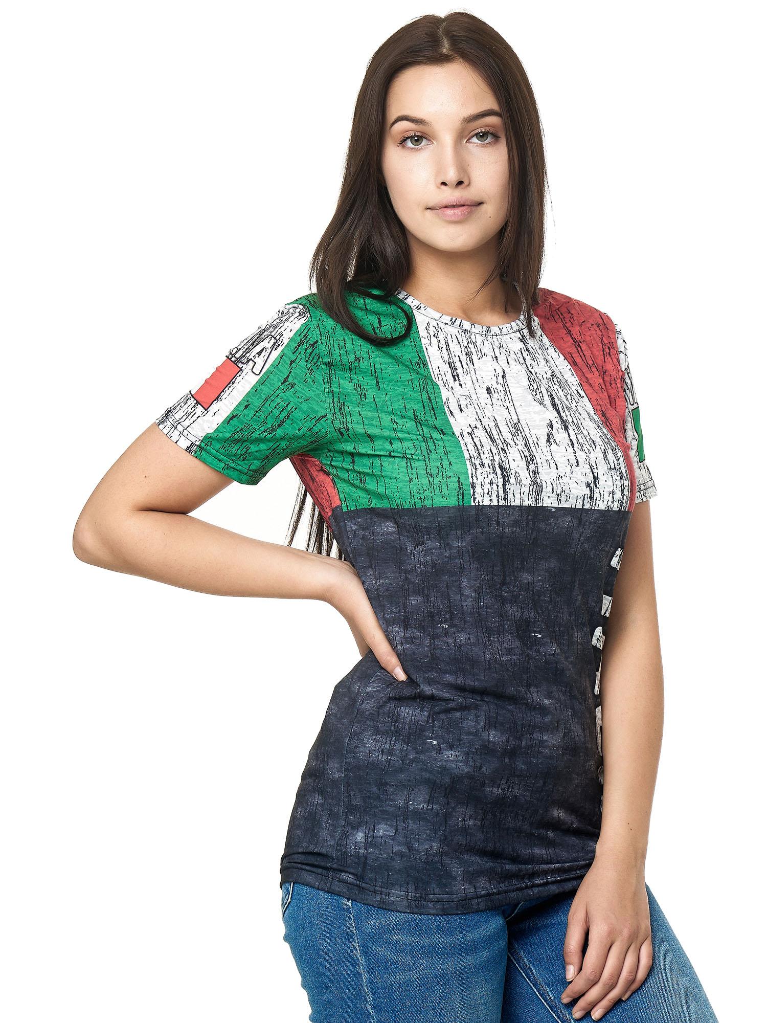 Paesi-da-Donna-T-shirt-A-Maniche-Corte-Girocollo-donne-CALCIO-Fanshirt-John-Kayna miniatura 68