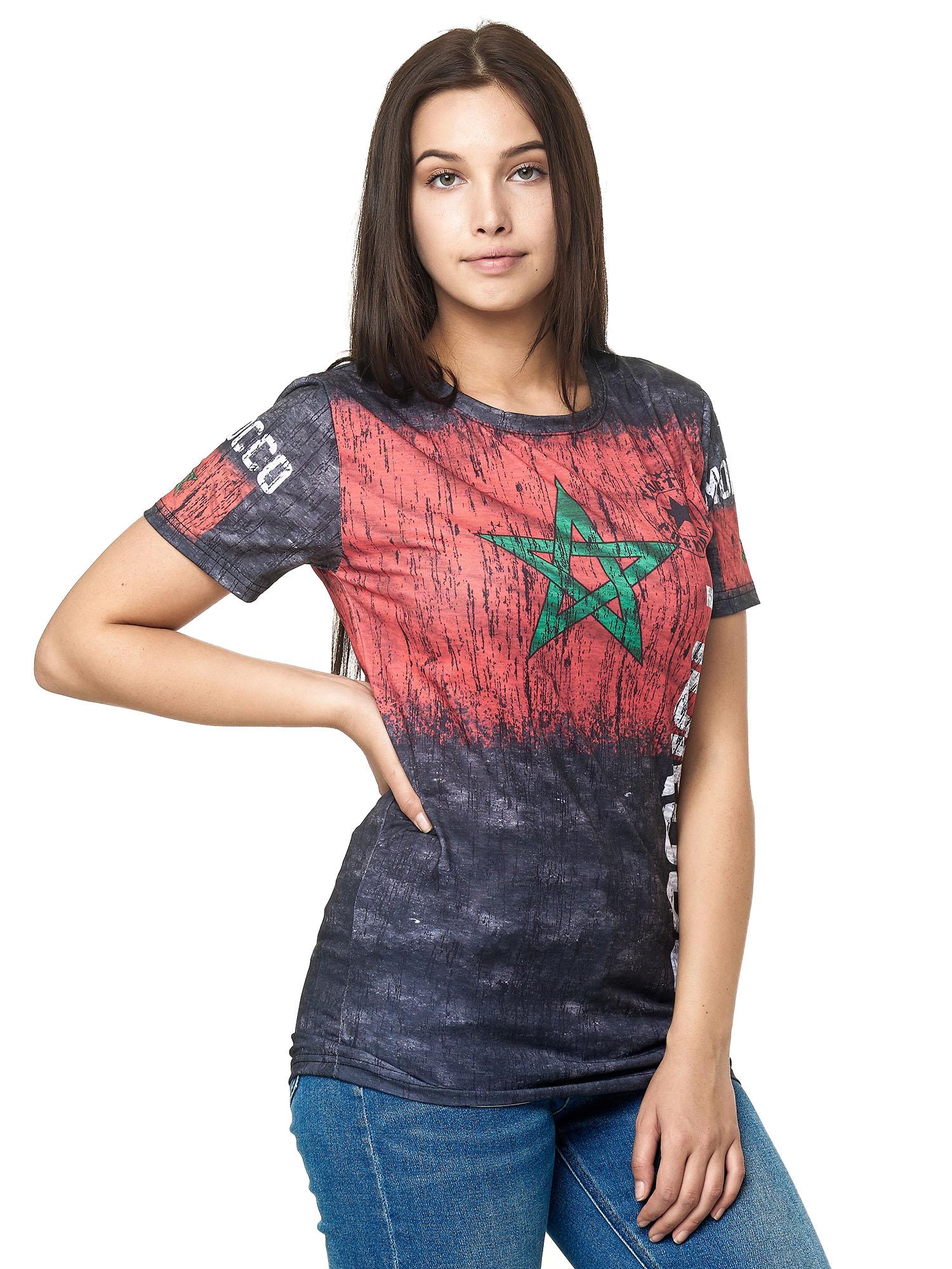 Paesi-da-Donna-T-shirt-A-Maniche-Corte-Girocollo-donne-CALCIO-Fanshirt-John-Kayna miniatura 24
