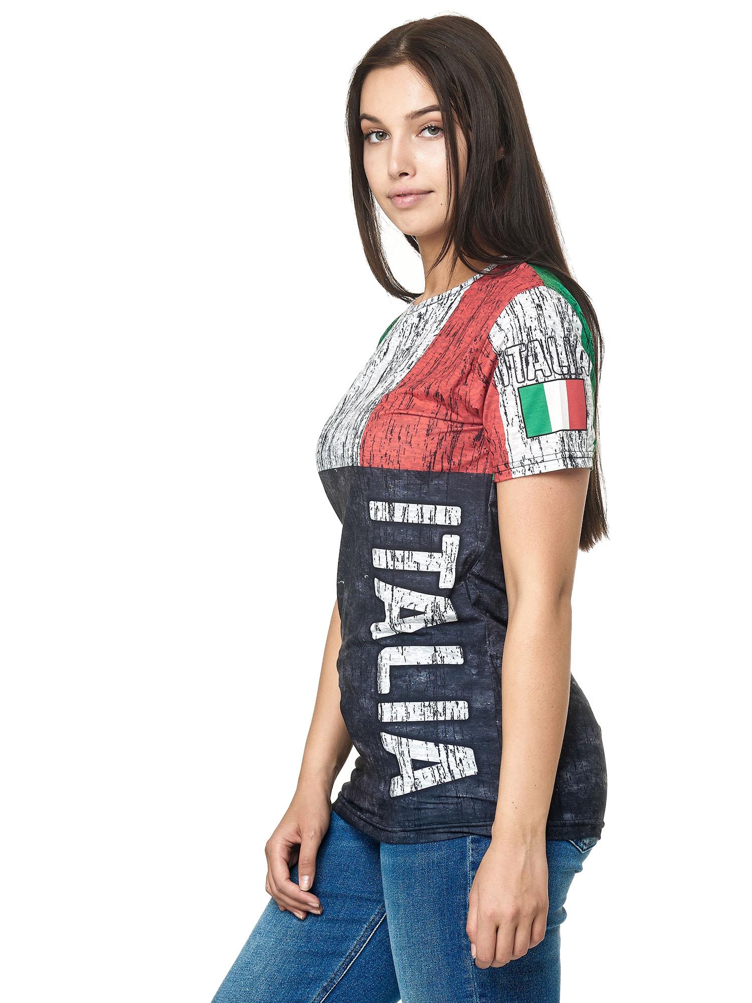 Paesi-da-Donna-T-shirt-A-Maniche-Corte-Girocollo-donne-CALCIO-Fanshirt-John-Kayna miniatura 67