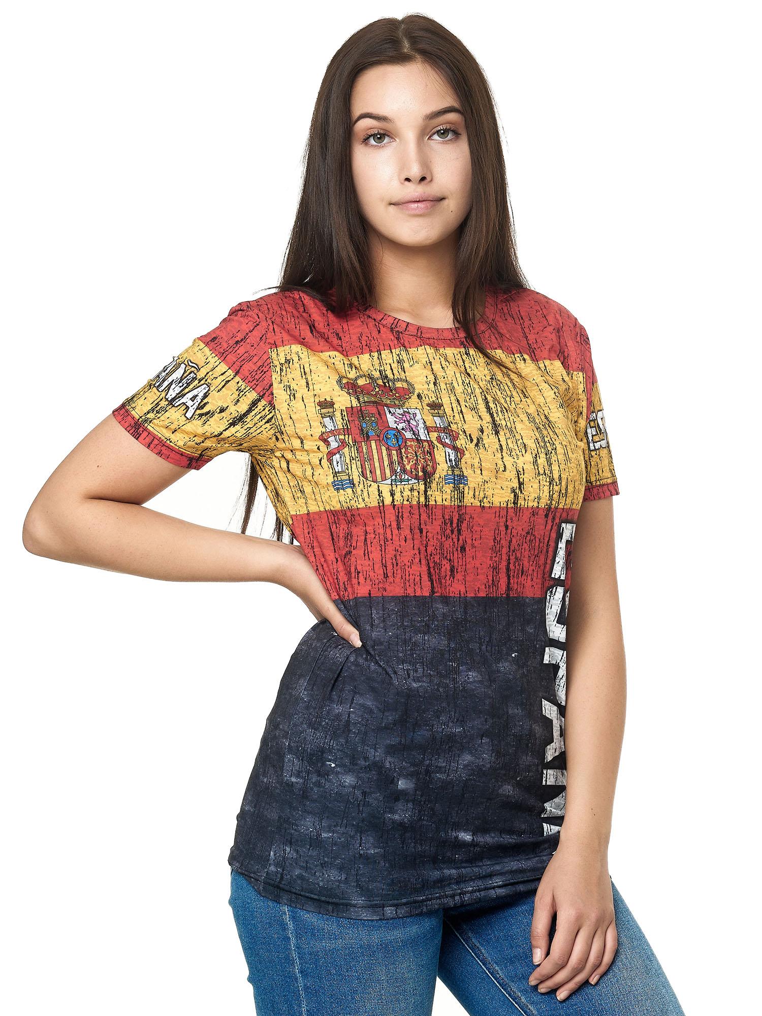Paesi-da-Donna-T-shirt-A-Maniche-Corte-Girocollo-donne-CALCIO-Fanshirt-John-Kayna miniatura 108