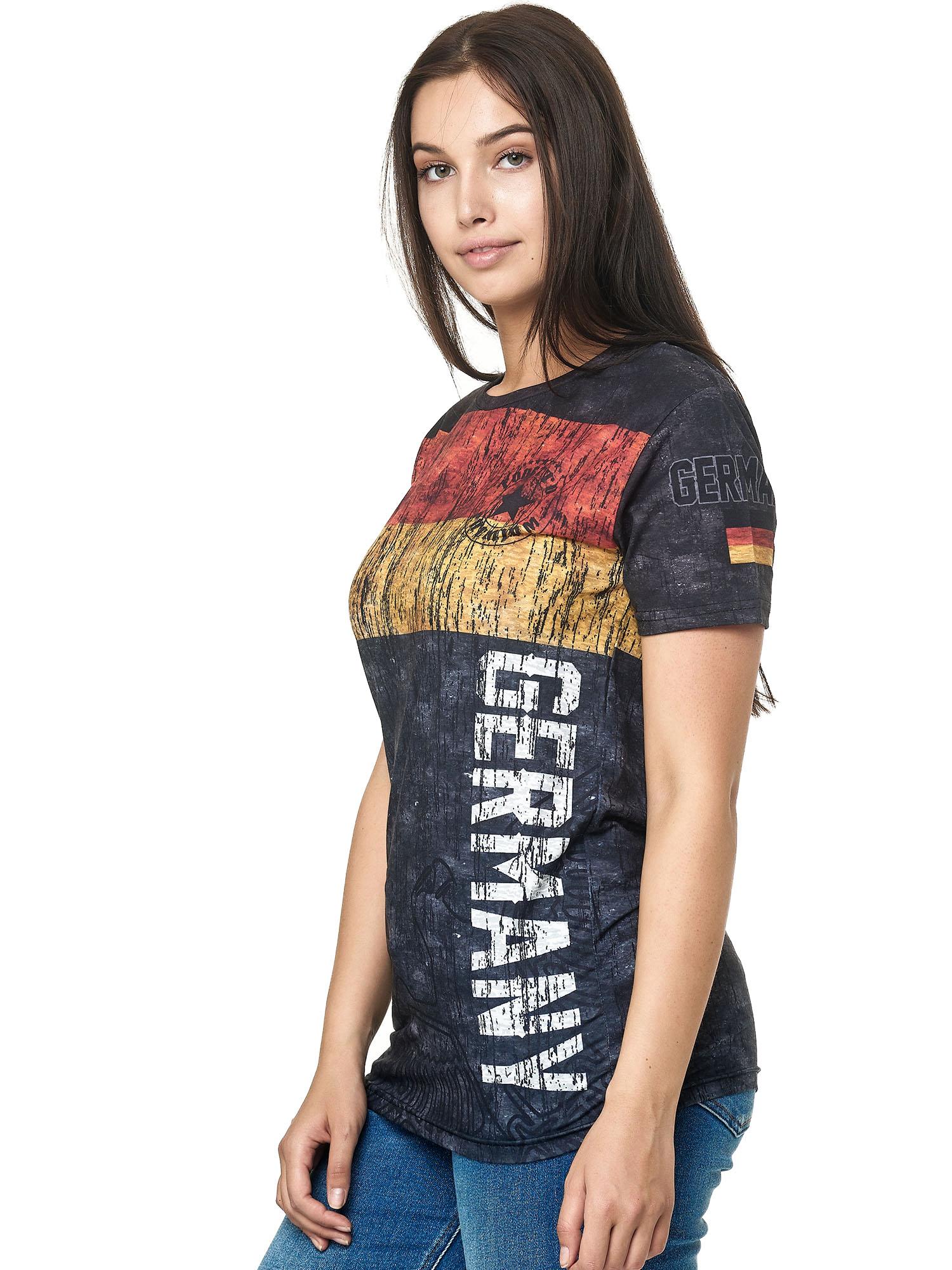 Paesi-da-Donna-T-shirt-A-Maniche-Corte-Girocollo-donne-CALCIO-Fanshirt-John-Kayna miniatura 47