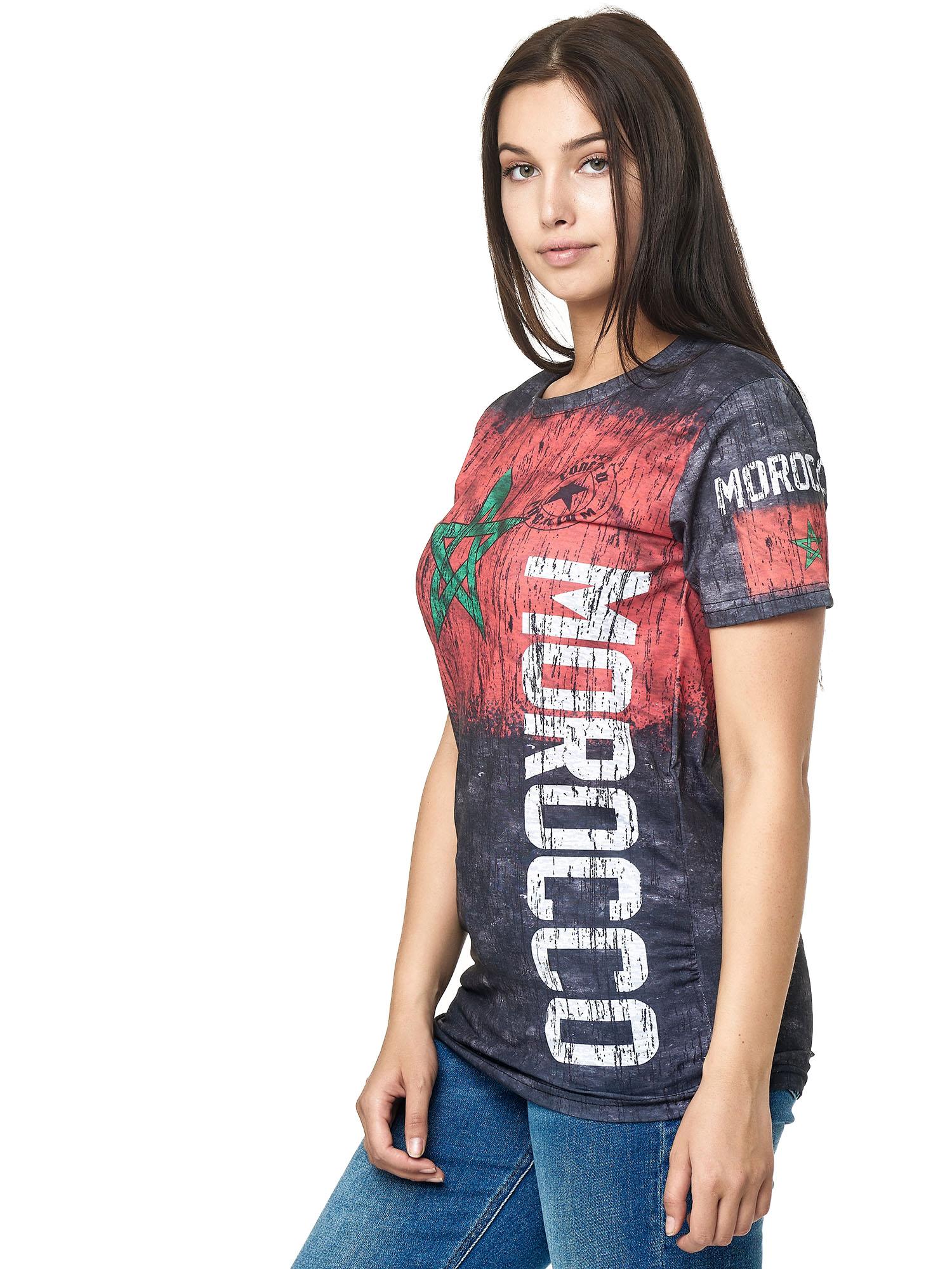 Paesi-da-Donna-T-shirt-A-Maniche-Corte-Girocollo-donne-CALCIO-Fanshirt-John-Kayna miniatura 23