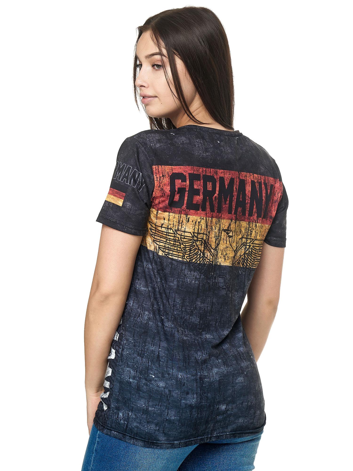 Paesi-da-Donna-T-shirt-A-Maniche-Corte-Girocollo-donne-CALCIO-Fanshirt-John-Kayna miniatura 49