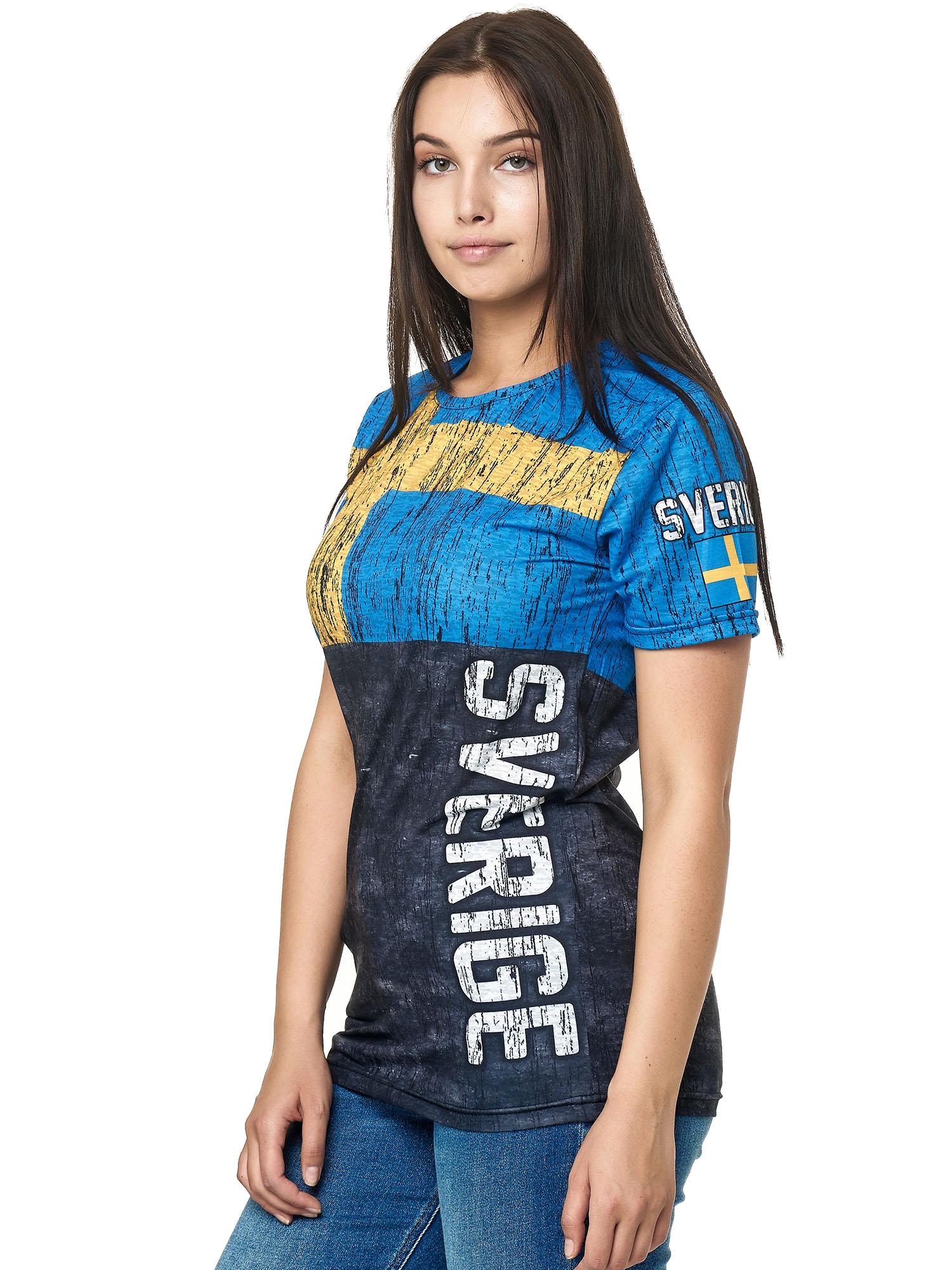 Paesi-da-Donna-T-shirt-A-Maniche-Corte-Girocollo-donne-CALCIO-Fanshirt-John-Kayna miniatura 102