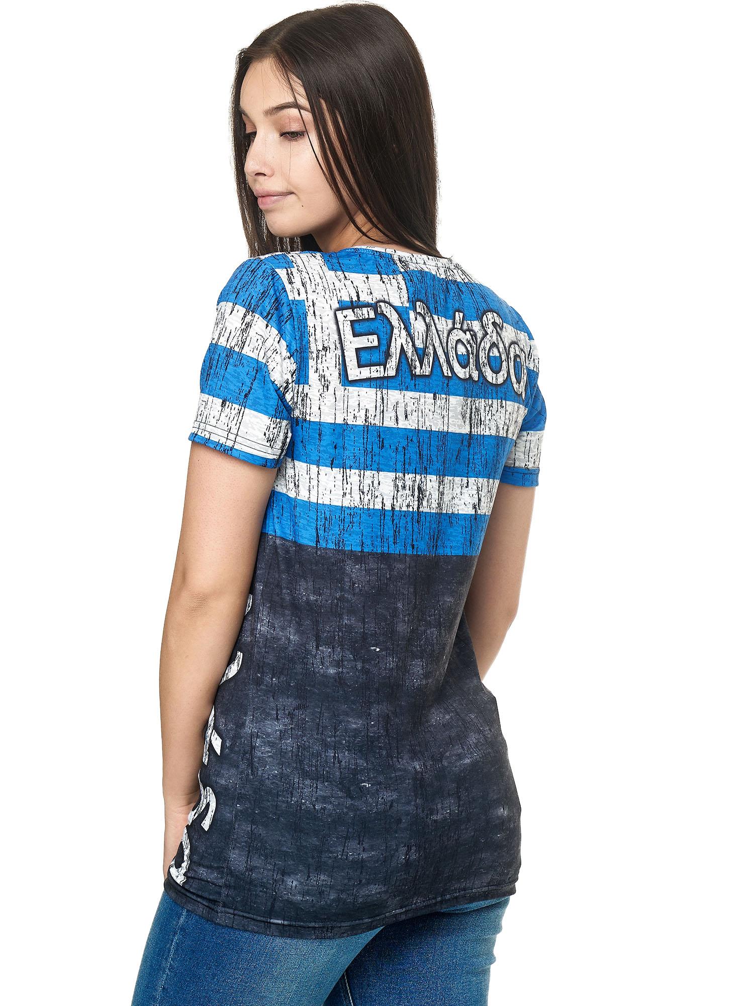 Paesi-da-Donna-T-shirt-A-Maniche-Corte-Girocollo-donne-CALCIO-Fanshirt-John-Kayna miniatura 54