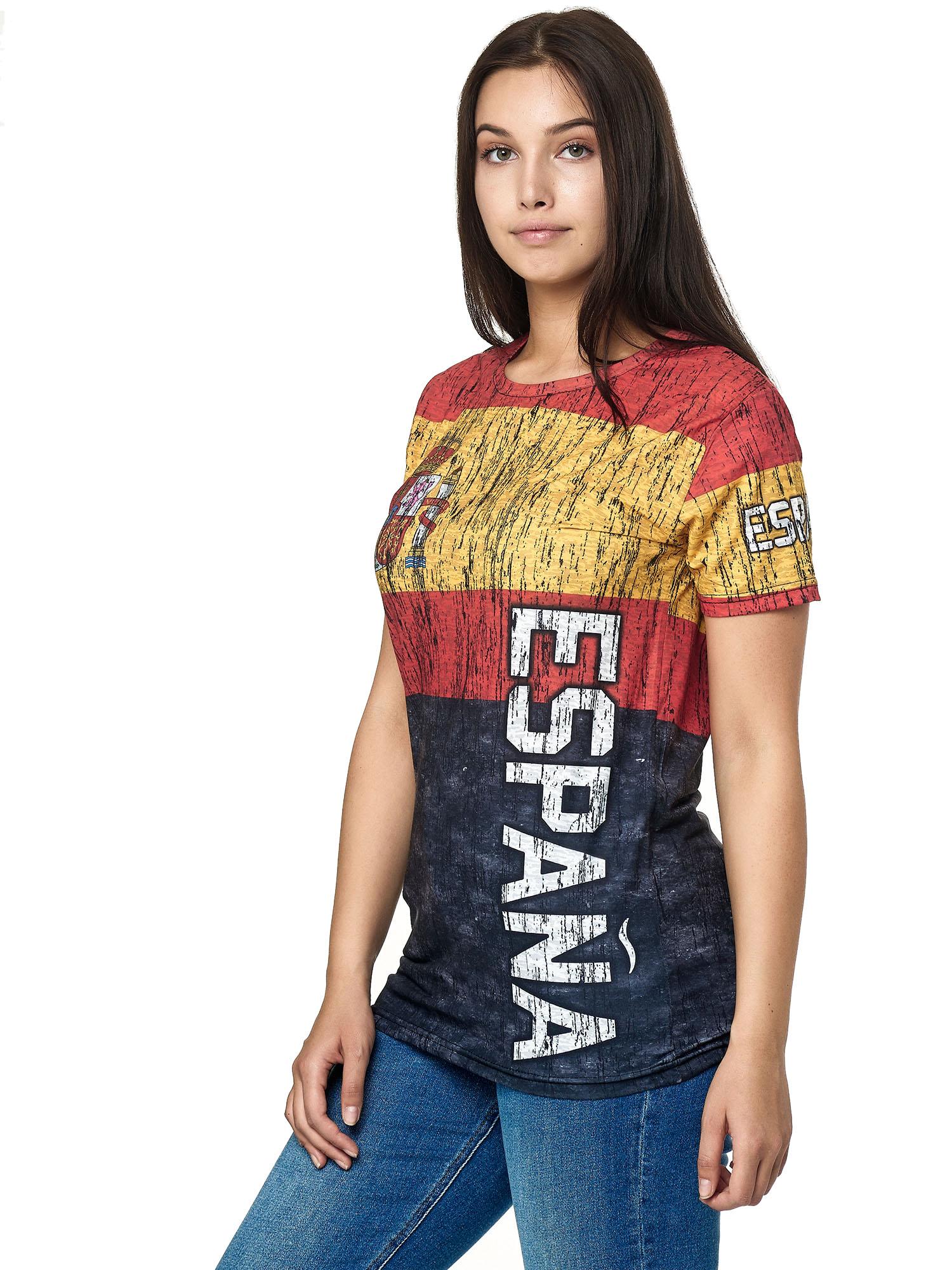 Paesi-da-Donna-T-shirt-A-Maniche-Corte-Girocollo-donne-CALCIO-Fanshirt-John-Kayna miniatura 107