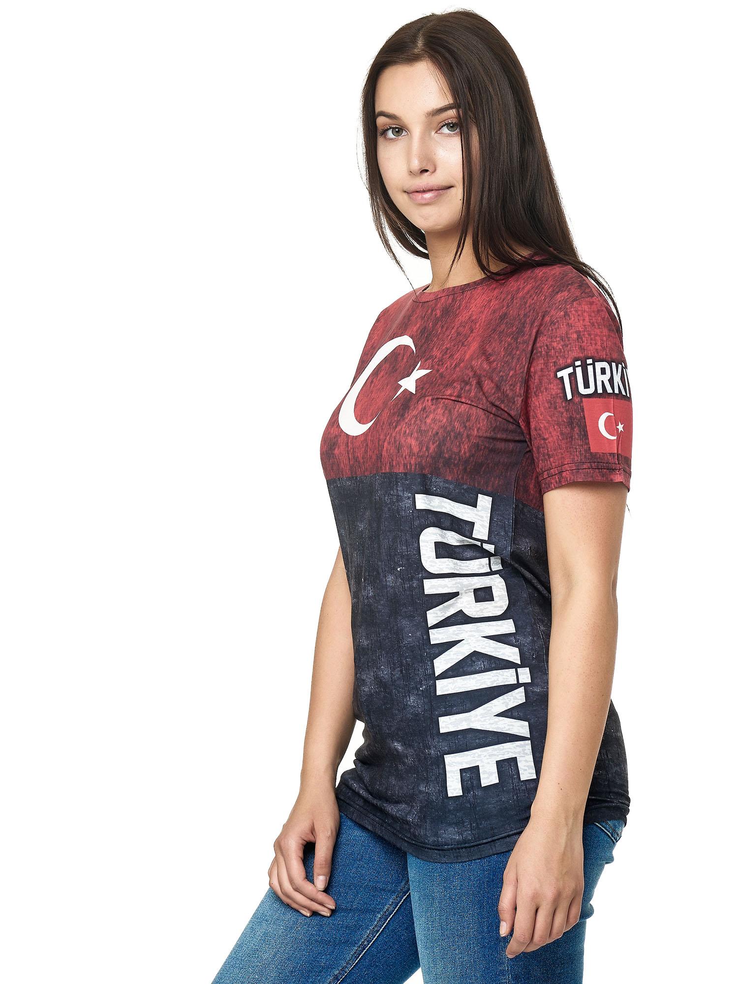 Paesi-da-Donna-T-shirt-A-Maniche-Corte-Girocollo-donne-CALCIO-Fanshirt-John-Kayna miniatura 112