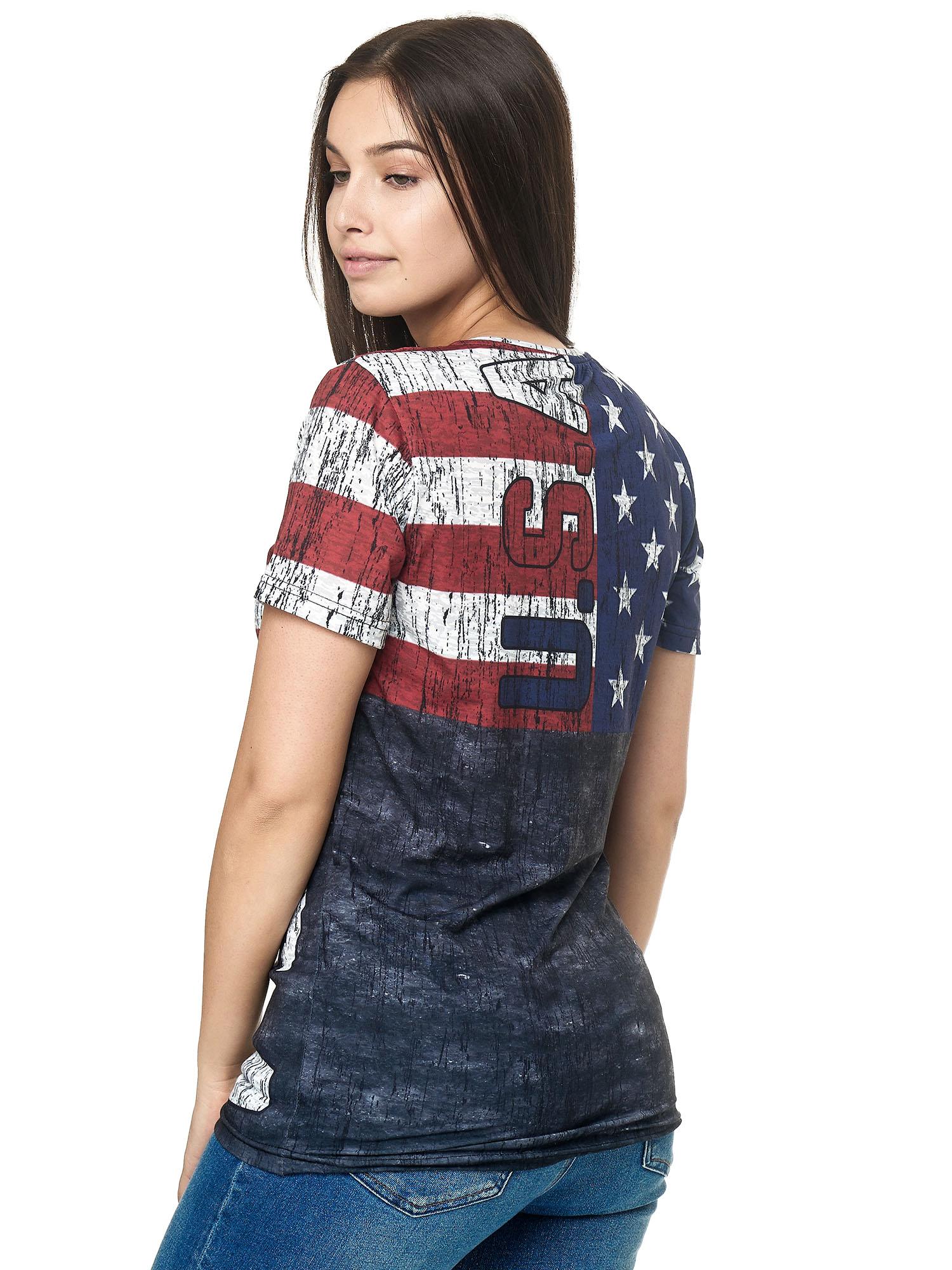 Paesi-da-Donna-T-shirt-A-Maniche-Corte-Girocollo-donne-CALCIO-Fanshirt-John-Kayna miniatura 15