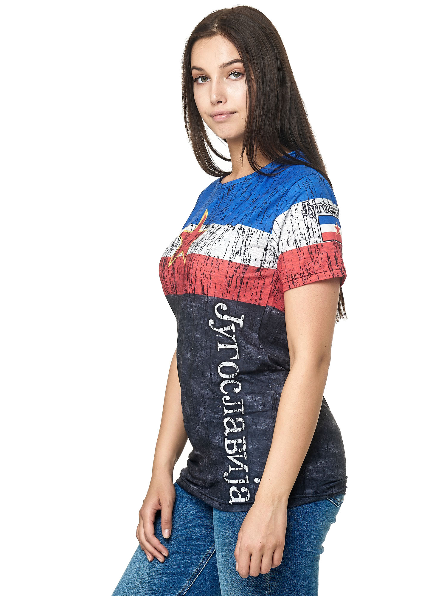 Paesi-da-Donna-T-shirt-A-Maniche-Corte-Girocollo-donne-CALCIO-Fanshirt-John-Kayna miniatura 72