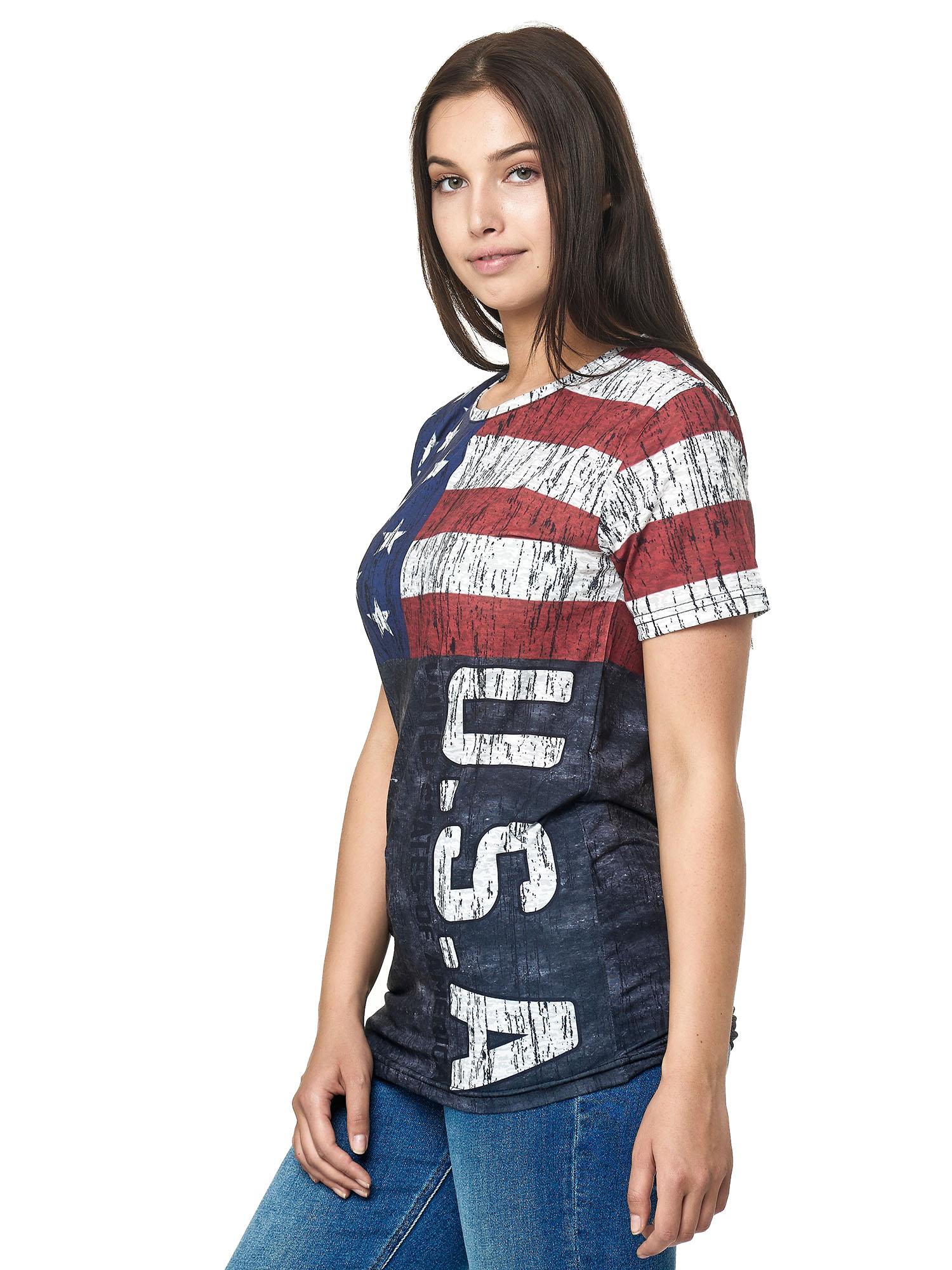Paesi-da-Donna-T-shirt-A-Maniche-Corte-Girocollo-donne-CALCIO-Fanshirt-John-Kayna miniatura 13