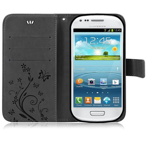 Samsung-Handy-Tasche-Handyhuelle-Schutz-Huelle-Blumen-Flip-Cover-Buch-Case-Etui Indexbild 19