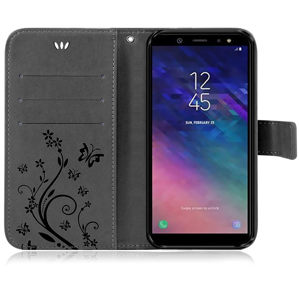 Samsung-Handy-Tasche-Handyhuelle-Schutz-Huelle-Blumen-Flip-Cover-Buch-Case-Etui Indexbild 125