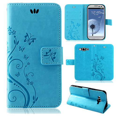 Samsung-Handy-Tasche-Handyhuelle-Schutz-Huelle-Blumen-Flip-Cover-Buch-Case-Etui Indexbild 14