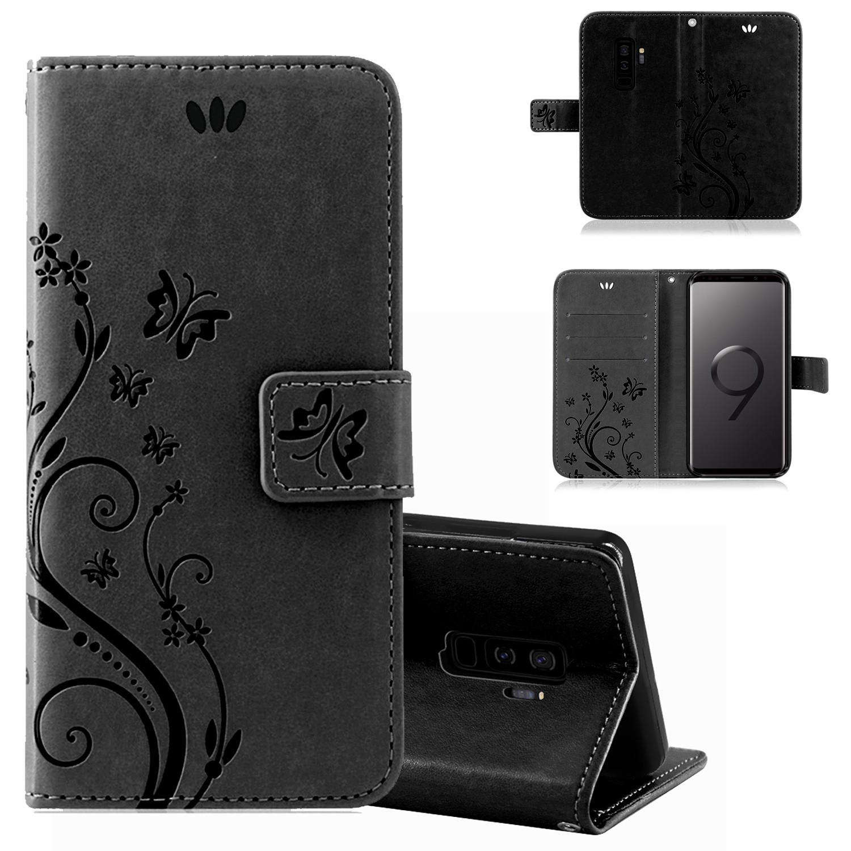 Samsung-Handy-Tasche-Handyhuelle-Schutz-Huelle-Blumen-Flip-Cover-Buch-Case-Etui Indexbild 78