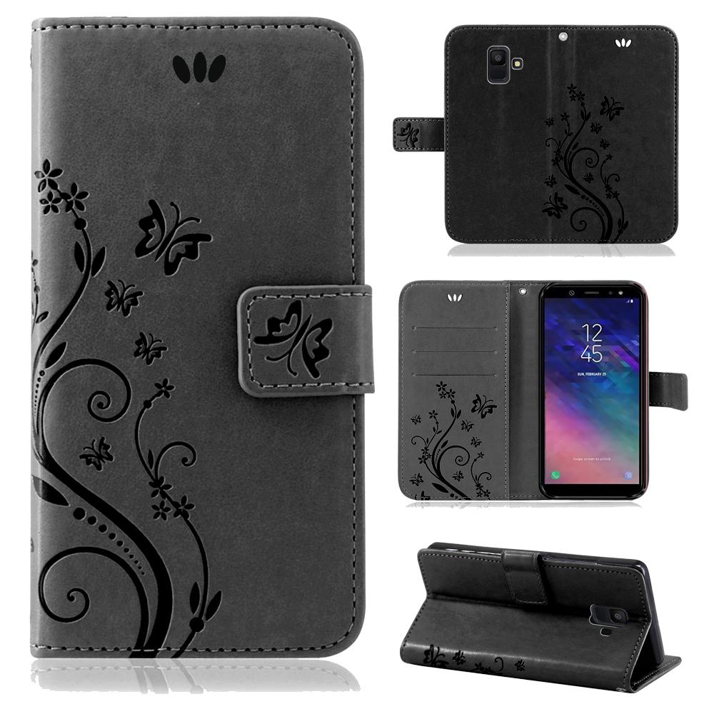 Samsung-Handy-Tasche-Handyhuelle-Schutz-Huelle-Blumen-Flip-Cover-Buch-Case-Etui Indexbild 123