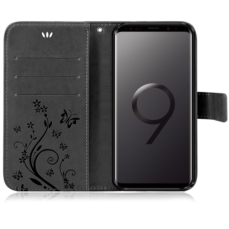 Samsung-Handy-Tasche-Handyhuelle-Schutz-Huelle-Blumen-Flip-Cover-Buch-Case-Etui Indexbild 74