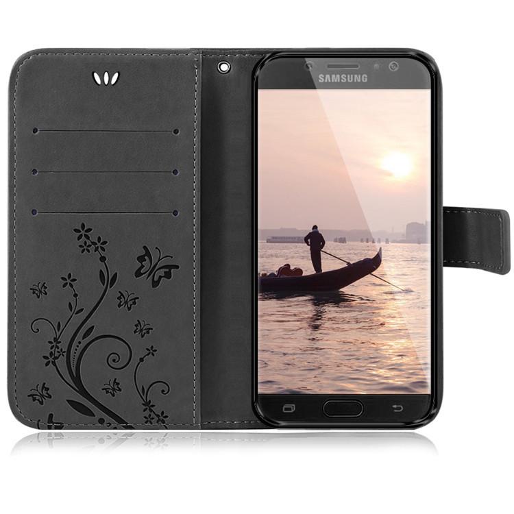 Samsung-Handy-Tasche-Handyhuelle-Schutz-Huelle-Blumen-Flip-Cover-Buch-Case-Etui Indexbild 197